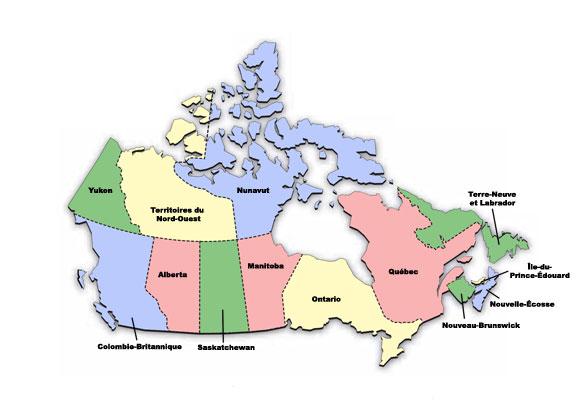 Carte Canada Region.Reseau Ministeriel Des Coordonnateurs Responsables De La Mise En