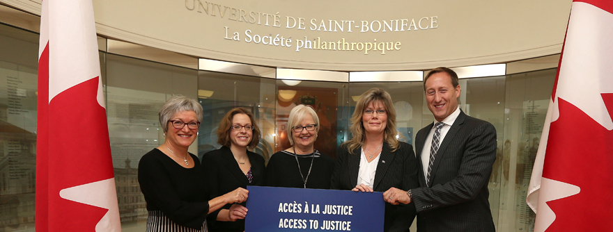 From left were Giséle Barnabé, Université de Saint-Boniface development office and communications director, Aileen Clark of Université de Saint-Boniface, Member of Parliament for Kildonan-St. Paul Joy Smith, and Shelly Glover, Minister of Canadian Heritage and Official Languages.